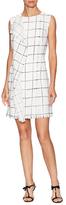 Oscar de la Renta Wool Print Drape Panel Shift Dress