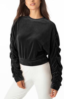 Juicy Couture Ruched Sleeve Stretch Velvet Sweatshirt
