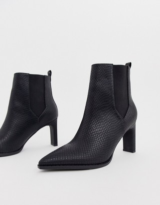 ASOS DESIGN Romeo pointed heeled boots in black snake