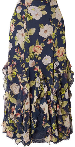 Alice + Olivia Alice Olivia - Uma Ruffled Lace-trimmed Silk-chiffon Maxi Skirt - Navy