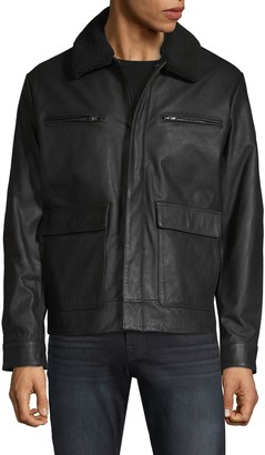 Michael Kors Faux Fur-Collar Leather Jacket