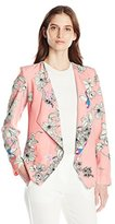 NY Collection Women's Printed Long Sleeve Open Front Cascade Front Jacket