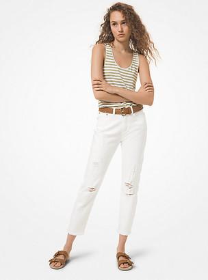 Michael Kors Distressed Denim High-Rise Jeans