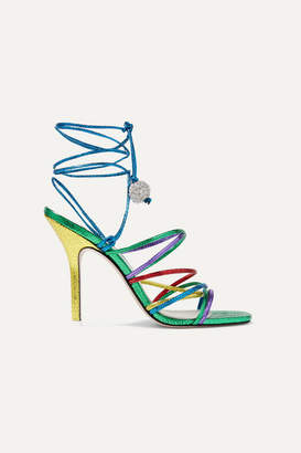 ATTICO Eve Crystal-embellished Metallic Lizard-effect Leather Sandals - Green