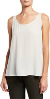 Eileen Fisher Silk Georgette Scoop-Neck Tank