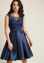 ModCloth Fit and Flare Dress with Lace Bodice in Navy in M - Sleeveless Fit & Flare Knee Length