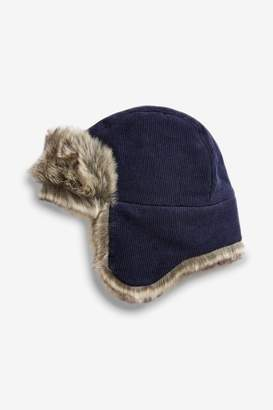 Next Boys Navy Cord Trapper Hat (Younger) - Blue