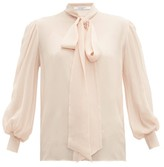 Givenchy Pussy-bow Silk-crepe Blouse - Womens - Light Pink