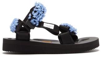 Suicoke Cecilie Bahnsen - X Maria Beaded Velcro-strap Sandals - Womens - Black Blue