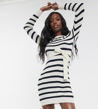 Brave Soul Tall miami belted sweater dress in stripe