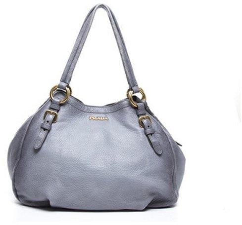 Prada Pre-Owned Grey Leather Side Zip Large Shoulder Bag