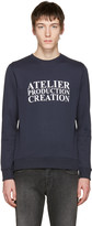 A.P.C. Navy 'Atelier Production Creation' Logo Pullover