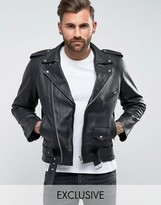 Reclaimed Vintage Inspired Leather Biker Jacket In Black
