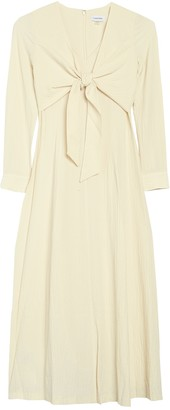 Calvin Klein Long Sleeve Knotted Front Midi Dress