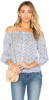 Paige Savannah Off The Shoulder Top in Blue