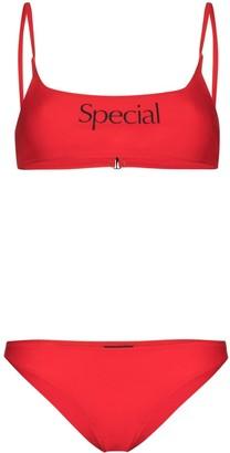 More Joy Special logo print bikini set
