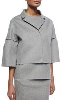 Carolina Herrera Cashmere Bell-Sleeve Coat, Gray