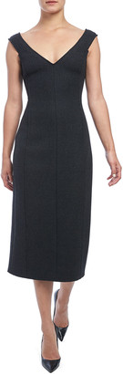 Theory Paneled Off-Shoulder Heavy Wool Dress