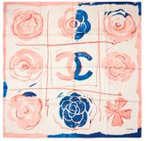 "Chanel Vintage Pink Floral Pop Art Silk Scarf, 34"" x 34"""