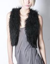 A.ok Black Cropped Fur Vest