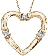 "Direct-Jewelry 14K Yellow Gold and Diamond Open Heart Pendant with 18"" Chain"