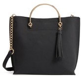 BP Metal Handle Faux Leather Satchel - Black