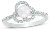 Zales 5.0mm Cultured Freshwater Pearl and 1/6 CT. T.W. Diamond Flower Frame Ring in Sterling Silver