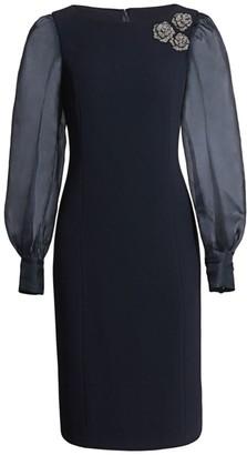 Teri Jon by Rickie Freeman Floral Broach Silk Organza Puff-Sleeve Sheath Dress