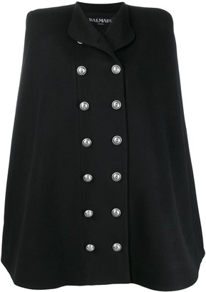 Balmain Double-Breasted Cape Coat