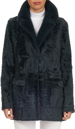 Zac Posen Kid Lamb Shearling Jacket w/ Mink-Fur Collar