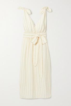 Mara Hoffman Calypso Belted Striped Linen And Tencel Lyocell-blend Midi Dress - Neutral
