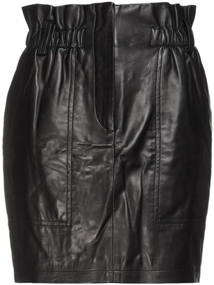 IRO Fuzi Gathered Leather Mini Skirt