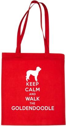 Print4u Keep Calm and Walk Goldendoodle Dog Lover Shopping Tote Bag Black