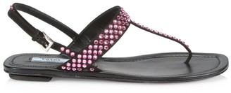 Prada Crystal-Embellished Leather Thong Sandals