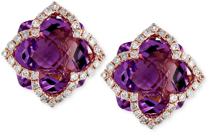 Effy Lavender Rose by Amethyst (6-1/4 ct. t.w.) and Diamond (1/3 ct. t.w.) Clover Stud Earrings in 14k Rose Gold