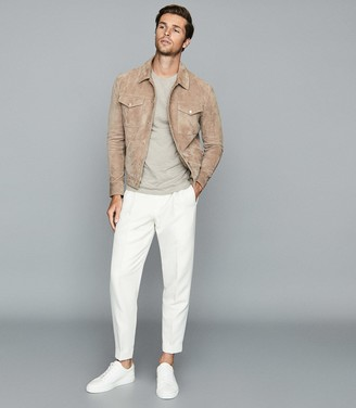 Reiss MONK PLEAT FRONT TAPERED TROUSERS White