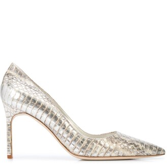 Manolo Blahnik Lisa snakeskin-effect pumps