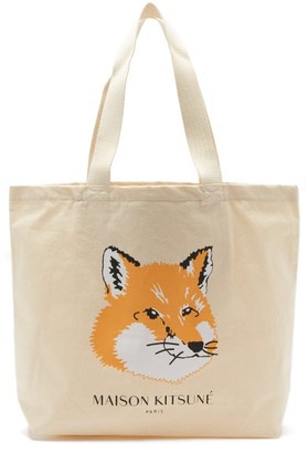 MAISON KITSUNÉ Fox-head Logo-print Canvas Tote Bag - Cream