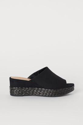H&M Wedge-heel Mules - Black