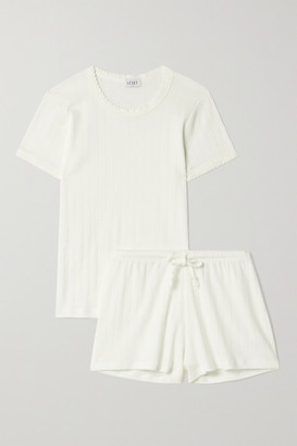 Leset Pointelle-knit Cotton-jersey Pajama Set - White