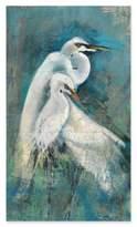 """Egret Pair"" 15-Inch x 26-Inch Wood Wall Art"