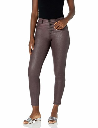 Blank NYC Women's Coated Exposed Button Fly Hi Rise Skinny Jean Burgundy