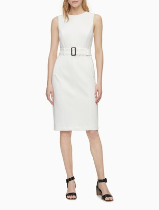 Calvin Klein Solid Belted Sleeveless Sheath Dress