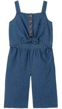 Calvin Klein Little Girls Denim Tie Front Coverall, 1 Piece