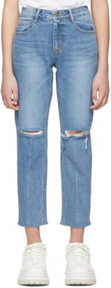 Sjyp Blue Distressed Jeans
