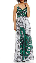 Kay Unger Palm Printed Chiffon Gown