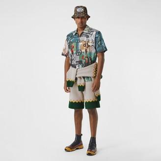 Burberry Short-sleeve Submarine Print Cotton Shirt