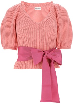 RED Valentino Bow Cropped-Sleeve Jumper