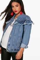 boohoo Maternity Alice Denim Ruffle Jacket