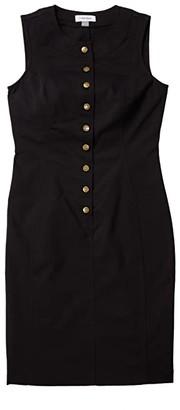 Calvin Klein Cotton Sheath Dress with Button Front (Black) Women's Dress